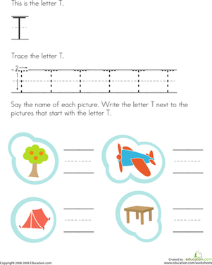 Preschool Reading & Writing Worksheets: Letter T Tracing