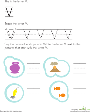 Preschool Reading & Writing Worksheets: Trace and Write the Letter V