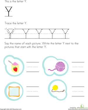 Preschool Reading & Writing Worksheets: Trace and Write the Letter Y