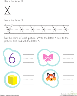 Preschool Reading & Writing Worksheets: Trace and Write the Letter X