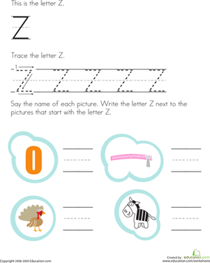 Preschool Reading & Writing Worksheets: Trace and Write the Letter Z
