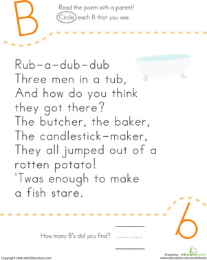 Kindergarten Reading & Writing Worksheets: Find the Letter B: Rub-a-Dub-Dub