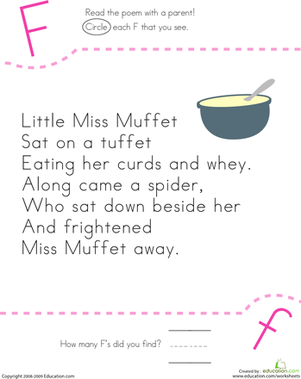 Kindergarten Reading & Writing Worksheets: Find the Letter F: Little Miss Muffet