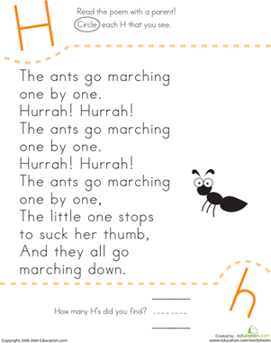 Kindergarten Reading & Writing Worksheets: Find the Letter H: The Ants Go Marching