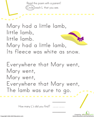 Kindergarten Reading & Writing Worksheets: Find the Letter L: Mary Had a Little Lamb