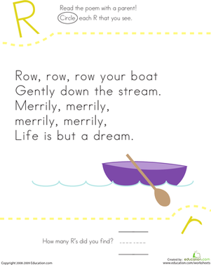 Kindergarten Reading & Writing Worksheets: Find the Letter R: Row, Row, Row Your Boat