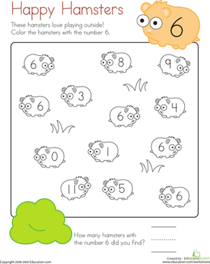 Kindergarten Math Worksheets: Coloring 6: Happy Hamsters
