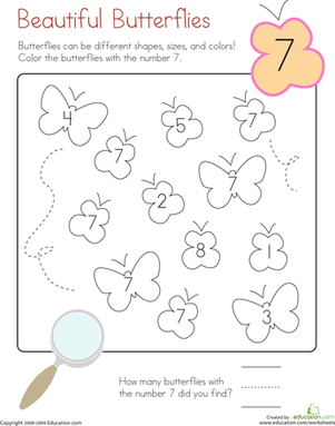 Kindergarten Math Worksheets: Coloring 7: Beautiful Butterflies