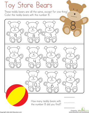 Kindergarten Math Worksheets: Number 8 Coloring Page