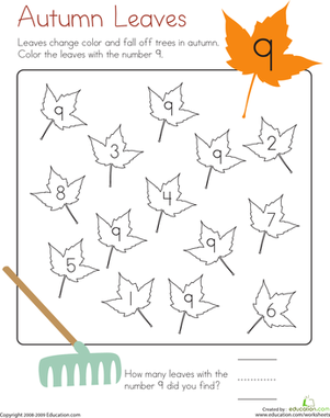 Kindergarten Math Worksheets: Number 9 Coloring Page