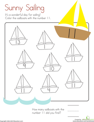 Kindergarten Math Worksheets: Number 11 Coloring Page