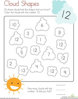 Kindergarten Math Worksheets: Coloring 12: Cloud Shapes