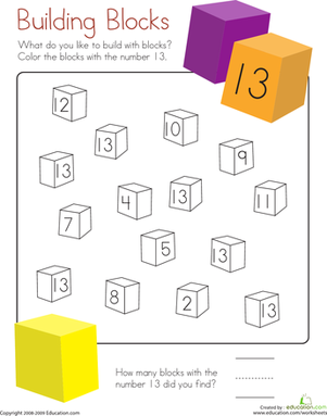 Kindergarten Math Worksheets: Number 13 Coloring Page