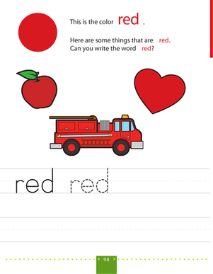 Preschool Reading & Writing Worksheets: Write & Color: Red