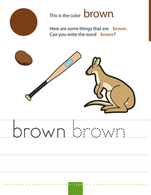 Preschool Reading & Writing Worksheets: Writing Colors: Brown