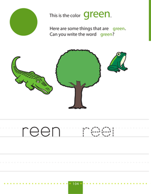 Preschool Reading & Writing Worksheets: Writing Colors: Green