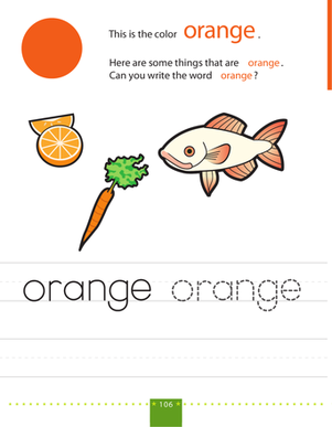 Preschool Reading & Writing Worksheets: Write & Color: Orange