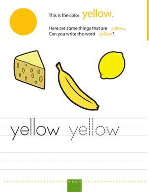 Preschool Reading & Writing Worksheets: Write & Color: Yellow