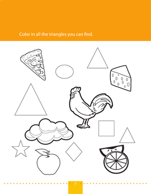 Preschool Math Worksheets: Find & Color Triangles
