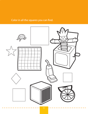 Preschool Math Worksheets: Find & Color Squares