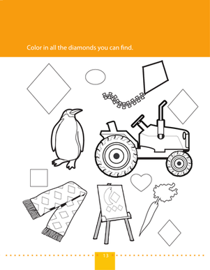 Preschool Math Worksheets: Find & Color Diamonds
