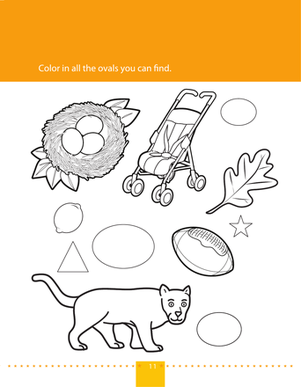 Preschool Math Worksheets: Shape Coloring: Ovals