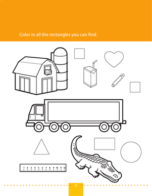 Preschool Math Worksheets: Shape Coloring: Rectangles