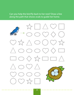 Preschool Math Worksheets: Follow the Oval Path