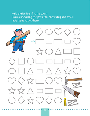 Preschool Math Worksheets: Follow the Rectangle Path