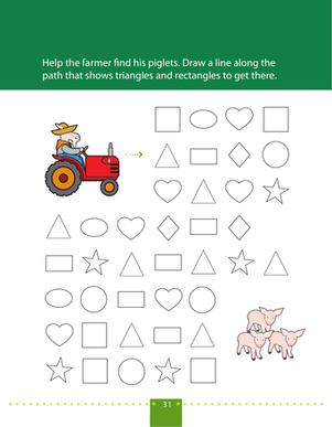 Preschool Math Worksheets: Follow the Triangle and Rectangle Path 2