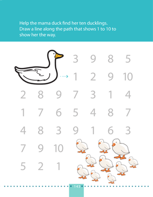 Preschool Math Worksheets: Counting to 10: Help the Mama Duck