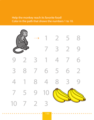 Preschool Math Worksheets: Count to 10: Go Bananas!