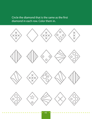 Preschool Math Worksheets: Find the Matching Diamond