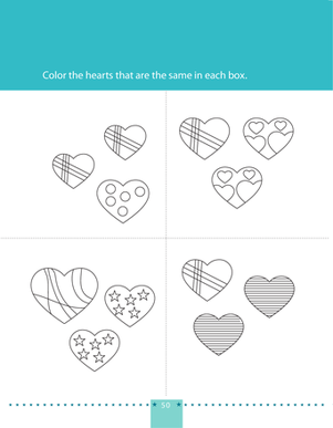 Preschool Math Worksheets: Color the Matching Hearts