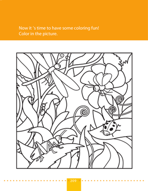Preschool Science Worksheets: Coloring Page: Bugs in Nature!