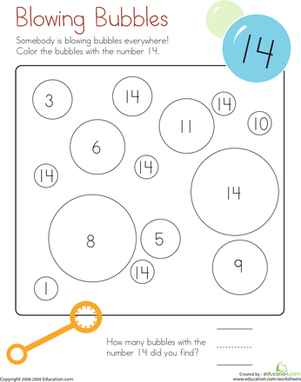 Kindergarten Math Worksheets: Coloring 14: Blowing Bubbles