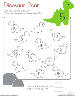 Kindergarten Math Worksheets: Number 15 Coloring Page