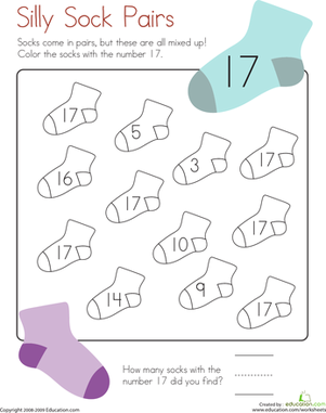 Kindergarten Math Worksheets: Coloring 17: Silly Sock Pairs