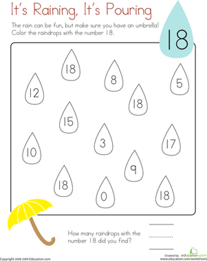 Kindergarten Math Worksheets: Coloring 18: It's Raining, It's Pouring