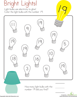 Kindergarten Math Worksheets: Number 19 Coloring Page