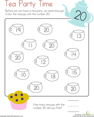 Kindergarten Math Worksheets: Number 20 Coloring Page