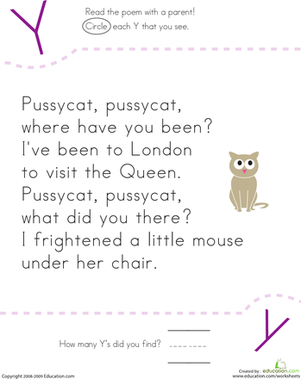 Kindergarten Reading & Writing Worksheets: Find the Letter Y: Pussycat, Pussycat