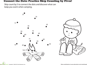 First Grade Math Worksheets: Connect the Dots: Practice Skip Counting by Fives