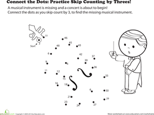 connect the dots practice skip counting by threes  worksheet  second grade math worksheets connect the dots practice skip counting by  threes