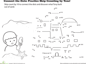 Second Grade Math Worksheets: Connect the Dots: Practice Skip Counting by Tens!
