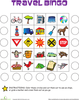 Kindergarten Offline games Worksheets: Travel Bingo