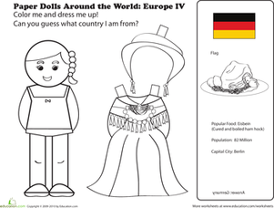 First Grade Coloring Worksheets: German Paper Doll