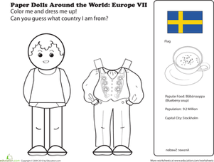First Grade Coloring Worksheets: Paper Dolls Around the World: Europe VII