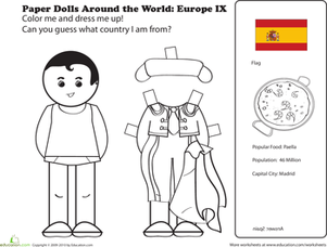 First Grade Coloring Worksheets: Paper Dolls Around the World: Europe IX