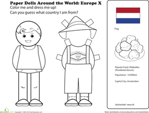 First Grade Coloring Worksheets: Paper Dolls Around the World: Europe X